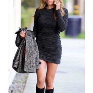 Chaser Puckered Knit Bodycon Charcoal Gray Dress